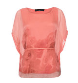 Aftershock Tumani Coral Silk Floral Print Blouse Top