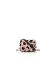 Mini Prisma Envelope Chain Sling In Pink Elaphe With Leaf Print