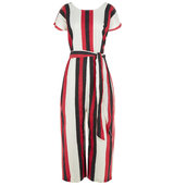 Ace and Jig Red Striped Cotton Belted Jumpsuit