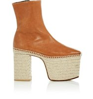 Balenciaga Leather Platform Espadrille Ankle Boots