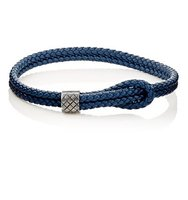 Bottega Veneta Mens Sterling Silver Intrecciato Leather Bracelet