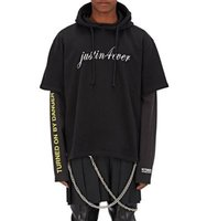 Vetements Mens Cotton Blend Layered Hoodie Skirt