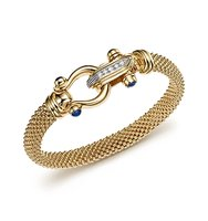14K Yellow Gold Beaded Mesh Bracelet with Diamond Clasp