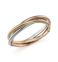 14K Yellow White and Rose Gold Triple Tubogas Bracelet