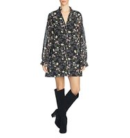 1state Floral Tie Neck Shift Dress