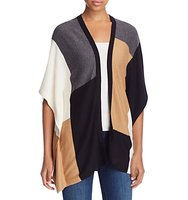 Avec Color Block Poncho Cardigan