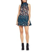 BCBGeneration Turtleneck Floral Print Dress