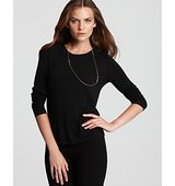 Eileen Fisher Womens Long Sleeve Stretch Silk Jersey Crew Neck Shirt