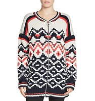 Maje Mercoeur Zip Front Patterned Cardigan