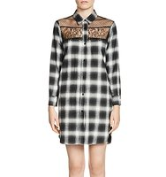 Maje Raja Lace Yoke Plaid Shirt Dress