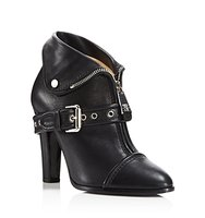 Moschino Moto Leather Jacket High Heel Booties