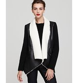 Sam Edelman Sherpa Wrap Coat with Knit Sleeves