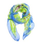 Alexander McQueen green and blue graffiti logo printed silk scarf
