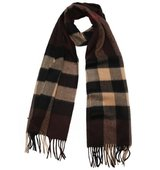 Burberry brown check cashmere woven scarf
