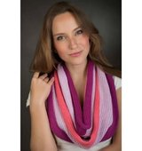 Elizabeth Koh Pink Passion Striped Infinity Scarf