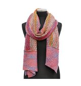 La Fiorentina PINK COMBO Multi Color Marble Knit Scarf w Contrast End