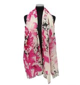 La Fiorentina Rose Gray Lightweight Scarf w Floral Print