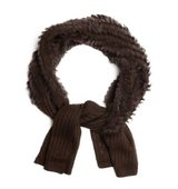 La Fiorentina chocolate knit rabbit fur middle scarf