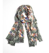 MIR green and orange cashmere knit Camo Floral Borders scarf