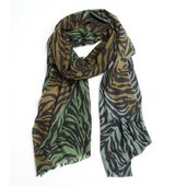 MIR hunter green cashmere knit Neo Zebra scarf