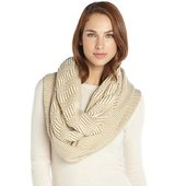 Vince Camuto khaki and cream stretch Geo Infinity pattern wrap scarf