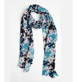 Wyatt aqua blue and ivory wool cashmere blend Dotted Squares pattern printed scarf