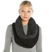 Wyatt black and grey wool and cashmere chunky knit 2 tone snood
