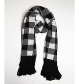 Wyatt black and white oversized buffalo plaid scarf