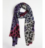 Wyatt plum and grey wool cashmere blend Amoeba pattern printed scarf