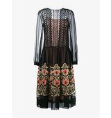 Alberta Ferretti Floral Embroidered Sheer Midi Dress