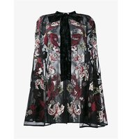 Erdem Sheer Silk Floral Embroidered Cape