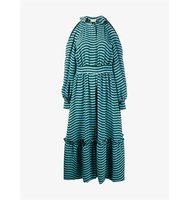 Fendi Open Shoulder Striped Dress With Ruffle