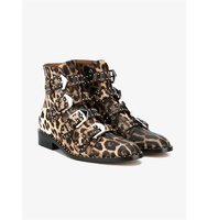 Givenchy Stud Embellished Leopard Print Leather Ankle Boots
