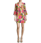 3 4 Bell Sleeve Floral Print Dress