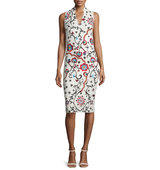 Alice Olivia Jacki Sleeveless Embroidered Sheath Dress