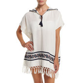 Tory Burch Embroidered Beach Poncho Coverup with Hood Womens