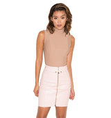 Aluna Nude Stretch Crepe Jersey Sleeveless Bodysuit
