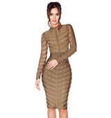 Kaori Khaki Studded Bandage and Mesh Dress