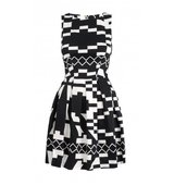 Closet Monochrome Print Pleat Dress
