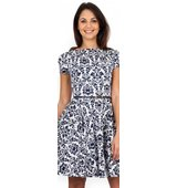 Closet Navy and White Damask Print Skater Dress