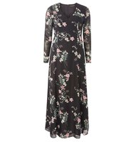 Dorothy Perkins Black And Pink Floral Print Maxi Dress