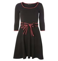 Dorothy Perkins Black and Pink Belted Dress