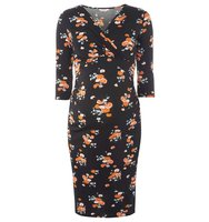 Dorothy Perkins Maternity Black Floral Ruched Wrap Dress