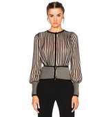 Alexander McQueen Cardigan Sweater in Black Neutrals Stripes Metallics