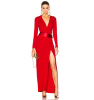 Alexandre Vauthier Long Sleeve Maxi Dress in Red Abstract