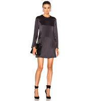 Calvin Klein Collection Januska Silk Satin Dress in Gray