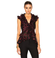 Erdem Floral Garland Regina Top in Red Black Floral