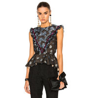 Erdem Metallic Floral Garland Quinn Top in Blue Metallics Floral