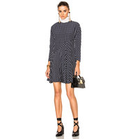Marni Crepe Silk Squares Long Sleeve Dress in Blue Checkered Plaid
