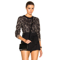 No 21 Cropped Sweater in Animal Print Brown